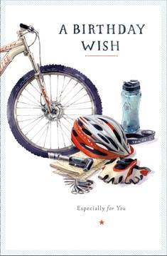 "Open Male Birthday Card - Grey Bicycle, Helmet, Water Bottle & Gloves 9"" x 5.75"""