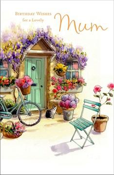 "Mum Birthday Card - Green Door, Bicycle, Tabby Cat & Bright Flowers 9"" x 5.75"""