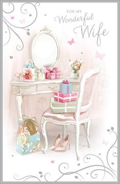 "Wife Birthday Card - Dressing Table, Presents, Heels & Butterflies 9"" x 5.75"""