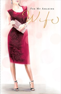 "Wife Birthday Card - Woman, Cerise Dress, Gold Text & Pale Pink Spots 9"" x 5.75"""