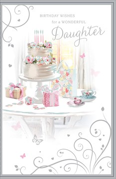 "Daughter Birthday Card - Floral Cake, Teacups, Presents & Butterflies 9"" x 5.75"""