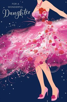 """Daughter Birthday Card - Young Woman, Bright Pink Dress & Red Roses 9"""" x 5.75"""""""