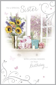 "Sister Birthday Card - Bright Flowers, Presents, Hearts & Butterflies 9"" x 5.75"""