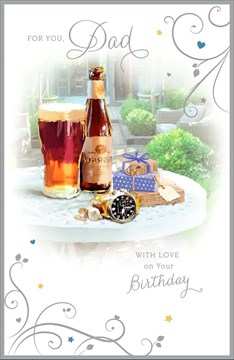 "Dad Birthday Card - Beer Bottle, Pint Glass, Gold Watch & Presents 9"" x 5.75"""