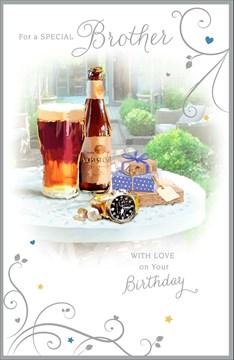 "Brother Birthday Card - Beer Bottle, Pint Glass, Presents & Garden 9"" x 5.75"""
