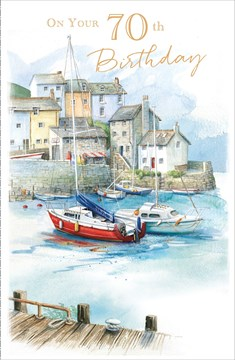 "Age 70 Male Birthday Card - Seaside Town, Boat Harbour, Pier & Ocean 9"" x 5.75"""