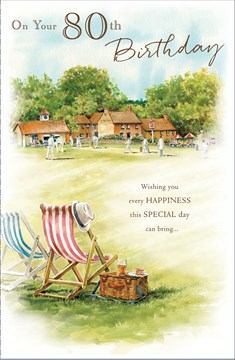 "Age 80 Male Birthday Card - Village, Cricket Match & Big Deckchairs 9"" x 5.75"""