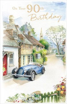 "Age 90 Male Birthday Card - Classic Blue Car, Country Houses & Trees 9"" x 5.75"""