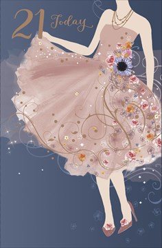 """Age 21 Female Birthday Card - Young Woman, Dusty Pink Dress & Flowers 9"""" x 5.75"""""""