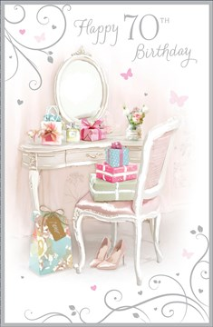 "Age 70 Female Birthday Card - Dressing Table, Presents & Butterflies 9"" x 5.75"""