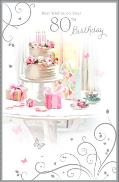"Age 80 Female Birthday Card - White Cake, Presents, Roses & Teacups 9"" x 5.75"""