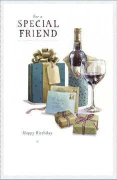 "Special Friend Birthday Card - Wine Bottle, Glass, Letters & Presents 9"" x 5.75"""