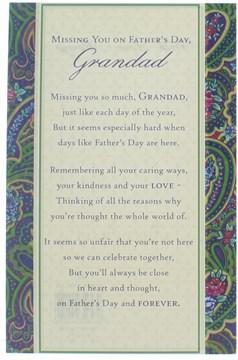 "Father's Day Loving Memory Graveside Memorial Card - Grandad 7.25"" x 5"""