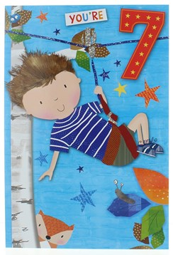 "Age 7 Boy Birthday Card - Boy on Zip Wire with Stars & Red 7  7.75""x5.25"""
