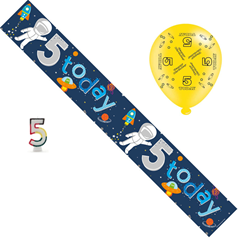 Age 5 Boy Birthday Party Pack - 5th Banner, Balloons, Number Candle
