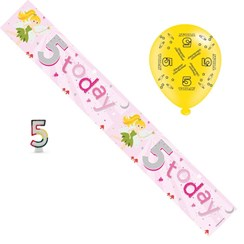 Age 5 Girl Birthday Party Pack - 5th Banner, Balloons, Number Candle
