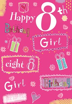 "Age 8 Girl Birthday Card - Bright Pink Presents, Hearts & Flowers 7.5"" x 5.25"""