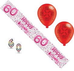 Age 60 Female Birthday Party Pack - 60th Banner, Balloons, Number Candles