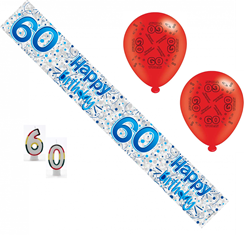 Age 60 Male Birthday Party Pack - 60th Banner, Balloons, Number Candles