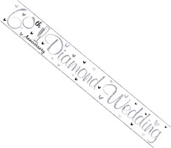 Diamond 60th Anniversary Foil Party Banner - Diamond Wedding - Silver Flutes