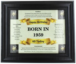 2020 60 Today Happy Birthday Print & Black Photo Frame - 1960 Was A Special Year
