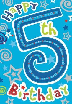 "Age 5 Boy Birthday Card - Bright Blue Number, Swirls & Silver Stars 7.5"" x 5.25"""