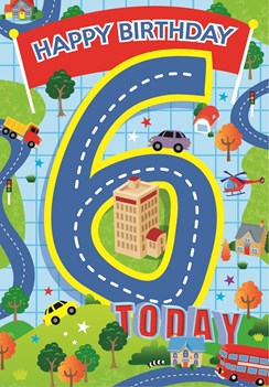 "Age 6 Boy Birthday Card - Blue Number, Cars, Roads, Trees & Stars 7.5"" x 5.25"""