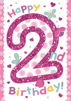 "Age 2 Girl Birthday Card - Bright Pink Number, Hearts & Butterflies 7.5"" x 5.25"""