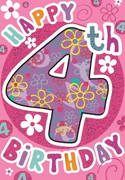 """Age 4 Girl Birthday Card - Purple Number, Hot Pink Circle & Flowers 7.5"""" x 5.25"""""""