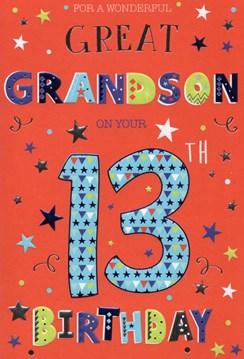 "Great Grandson 13th Birthday Card - Big 13 Stars & Foil Detail   9"" x 6"""