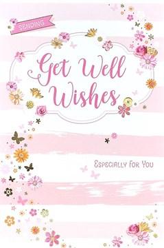 "Get Well Soon Greetings Card - Pink Flowers, Butterflies & Stripes 8.5"" x 5.5"""