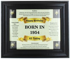 2020 65 Today Happy Birthday Print & Black Photo Frame - 1955 Was A Special Year