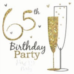 Pack of 6 Holographic 65th Birthday Party Card Invitations & Envelopes