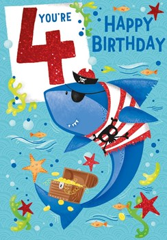 "Age 4 Boy Birthday Card - Pirate Shark, Treasure Chest & Starfish 7.5"" x 5.25"""