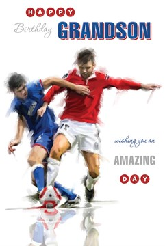 """Grandson Birthday Card - Young Men On Opposite Teams Playing Football 9"""" x 6"""""""