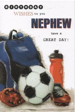 "Nephew Birthday Card - Big Football, Backpack, Red Bottle & Black Boots 9"" x 6"""