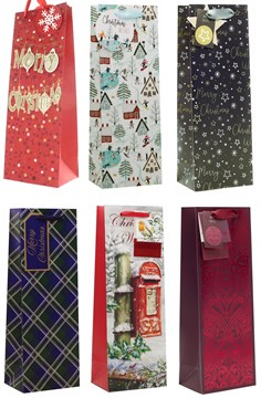 Set of 6 Christmas Wine Bottle Gift Bags & Tags Traditional Contemporary Designs