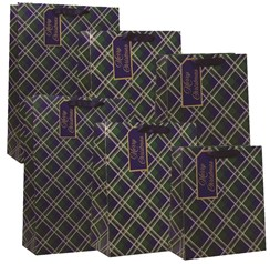 Pack of 6 Christmas Gift Bags 3 Sizes Blue and Green Tartan Design Gold Foil
