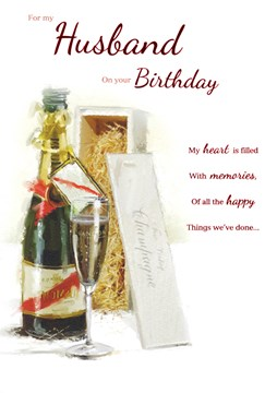 "ICG Husband Birthday Card - Champagne Bottle, Glass & Wooden Gift Box 9"" x 6"""