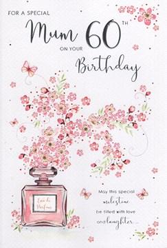 "ICG Mum 60th Birthday Card - Pink Text, Perfume Bottle & Lilac Flowers 9"" x 6"""
