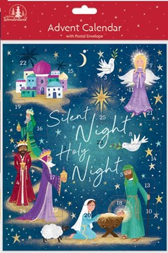 "Christmas Advent Calendar - Religious Silent Night Nativity Scene 8"" x 9.75"""