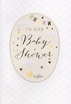 "ICG Baby Shower Greetings Card - Gold Text, Zig Zags, Bunting & Clouds 9"" x 6"""