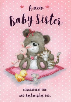 "ICG New Baby Sister Greetings Card - Grey Bear, Cat & Pink Blanket 6.75"" x 4.75"""