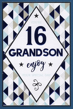 "ICG Grandson 16th Birthday Card - Dark Blue Text, Triangles & Tiny Stars 9"" x 6"""