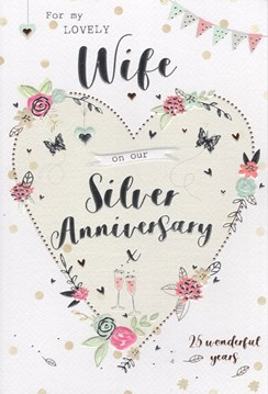 "ICG Wife Silver 25th Wedding Anniversary Card - Heart, Glasses & Roses 9"" x 6"""