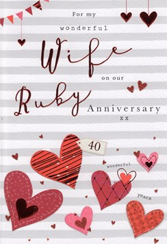 "ICG Wife Ruby 40th Wedding Anniversary Card - Grey Stripes & Red Hearts 9"" x 6"""