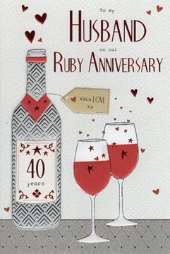 "ICG Husband Ruby 40th Wedding Anniversary Card - Red Wine Bottle & Stars 9"" x 6"""