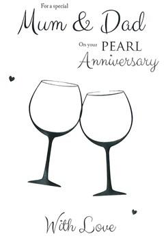 "ICG Mum & Dad Pearl 30th Wedding Anniversary Card - Big Glasses & Hearts 9"" x 6"""