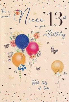 """ICG Niece 13th Birthday Card - Balloons & Butterflies with Rose Gold Foil 9x6"""""""