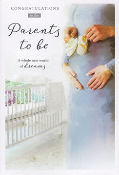 "ICG You're Going To Be Parents Greetings Card - Couple, Cot & Booties 9"" x 6"""